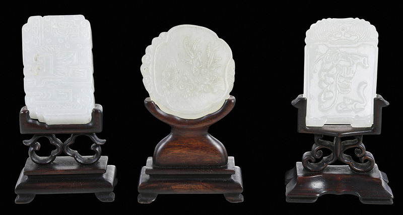 Three Carved Jade Plaques With Stands