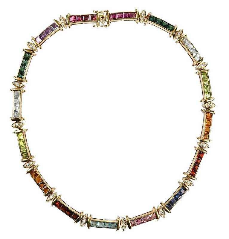14kt. Diamond & Gemstone Necklace