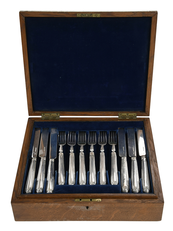 Cased 36 Piece English Silver Fruit Set