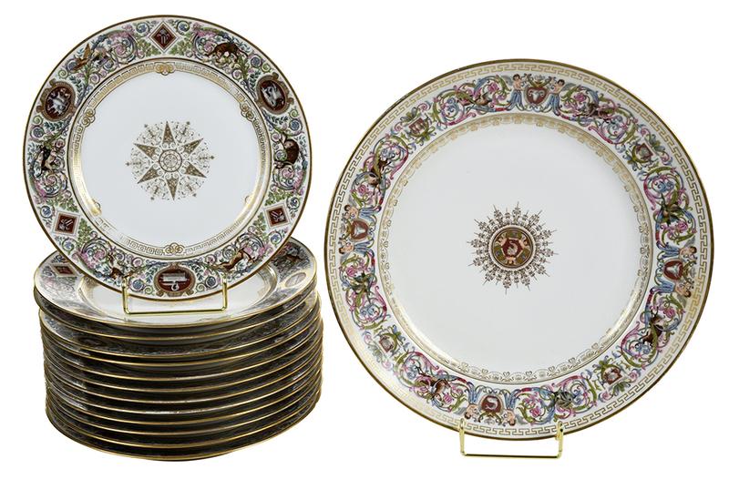 14 Sevres Chateau de F. Bleau Gilt Plates