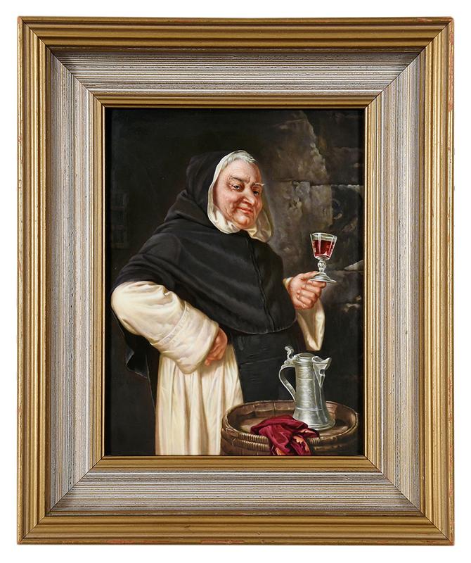 KPM Plaque of Monk Holding Wine Glass