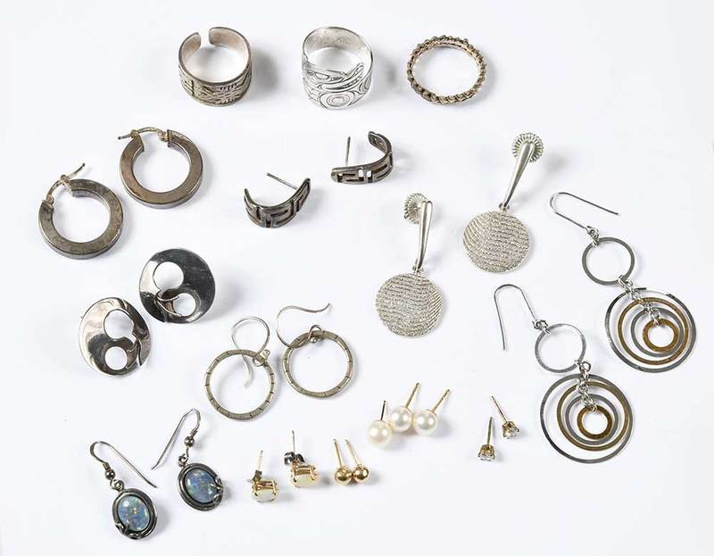 Eleven Pairs of Earrings & Three Rings