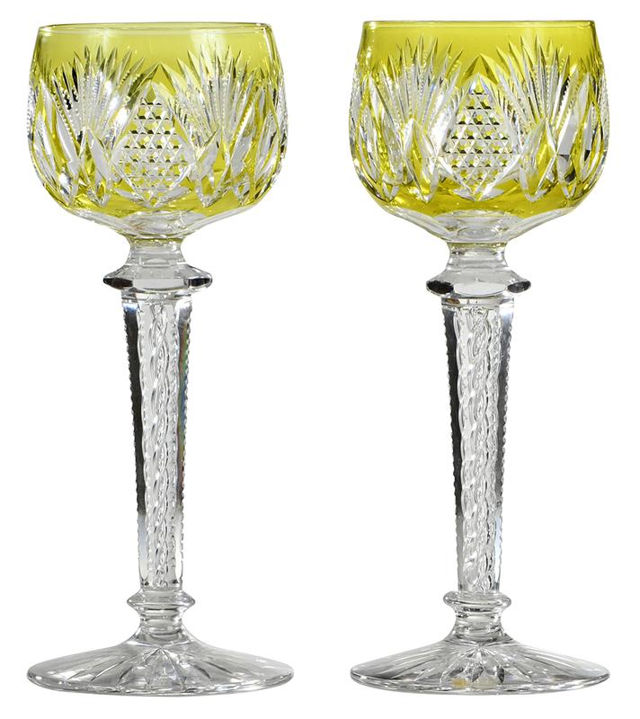 Pair Brilliant Period Cut Glass Rhine Wine Stems