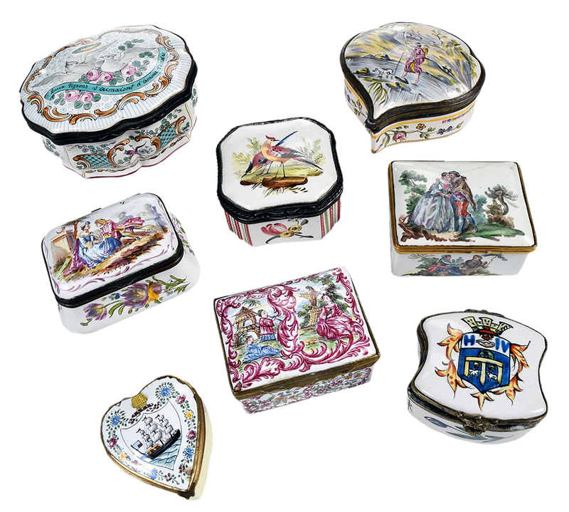 Eight Decorated Enamel Boxes