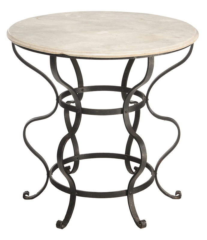 Black Wrought Iron and Marble Center Table