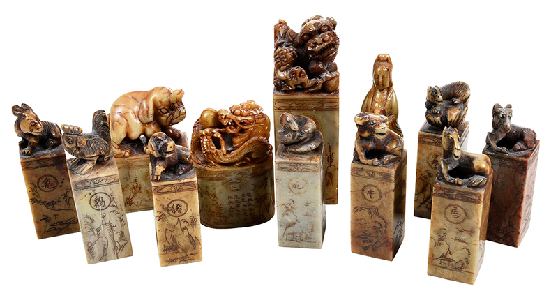 Group of 12 Chinese Stone Seals