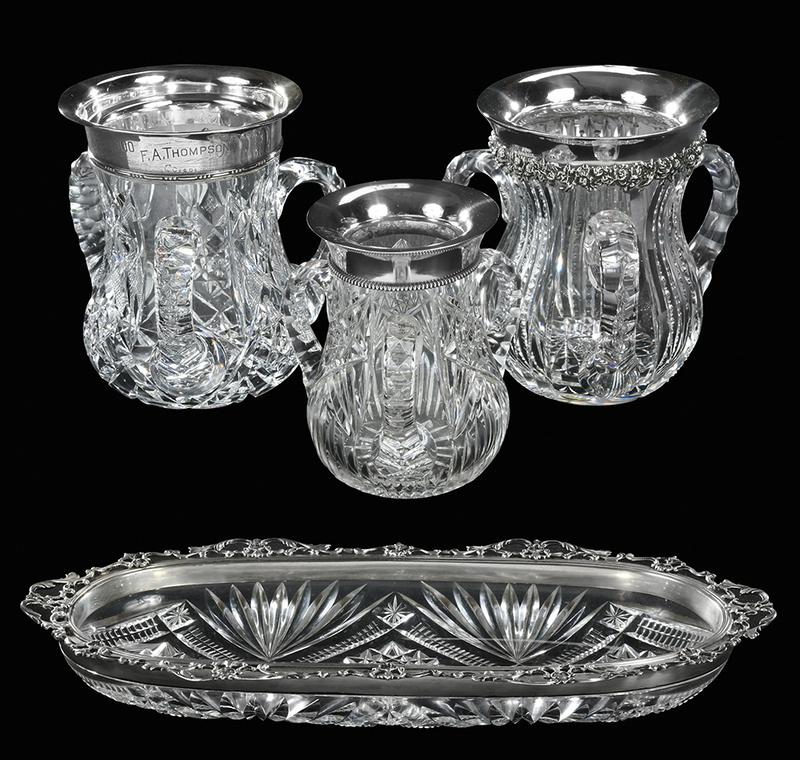 Four Brilliant Period Cut Glass Table Items