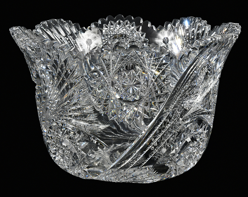 J. Hoare Brilliant Period Cut Glass Punch Bowl