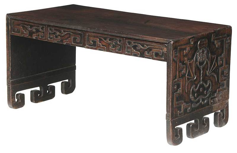 Antique Chinese Carved Hardwood Scholar's Table