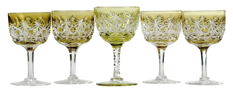 Five Brilliant Period Cut Glass wines