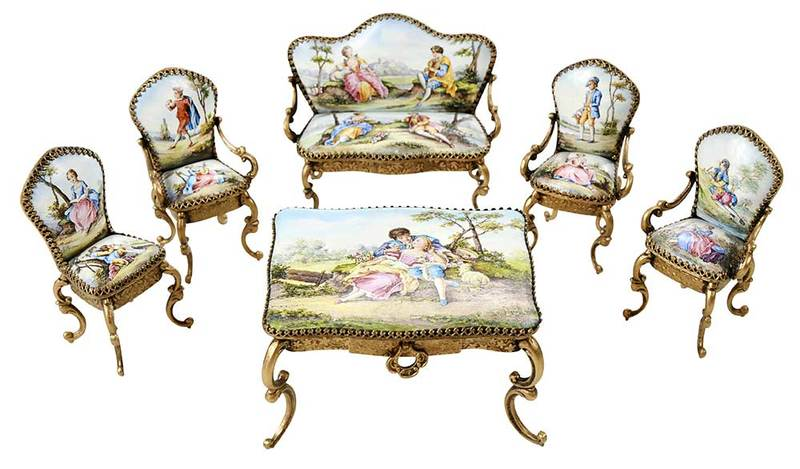 Six Pieces Miniature Viennese Enamel Furniture