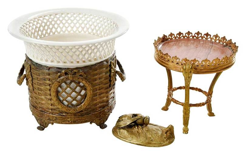 Three Gilt Metal Table Items