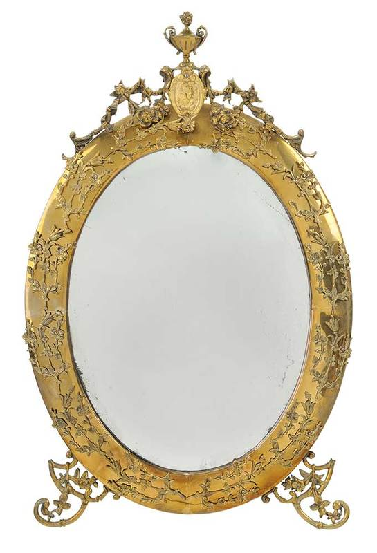 Neoclassical Style Oval Brass Mirror