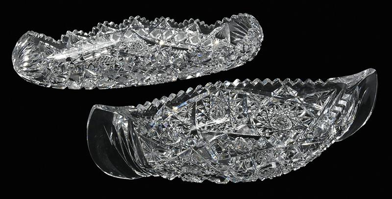 Brilliant Period Cut Glass Canoe Relishes
