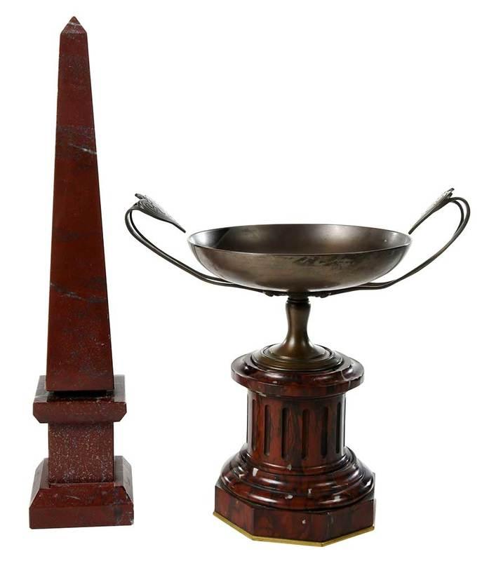 F. Barbadiene Bronze Tazza and Marble Obelisk