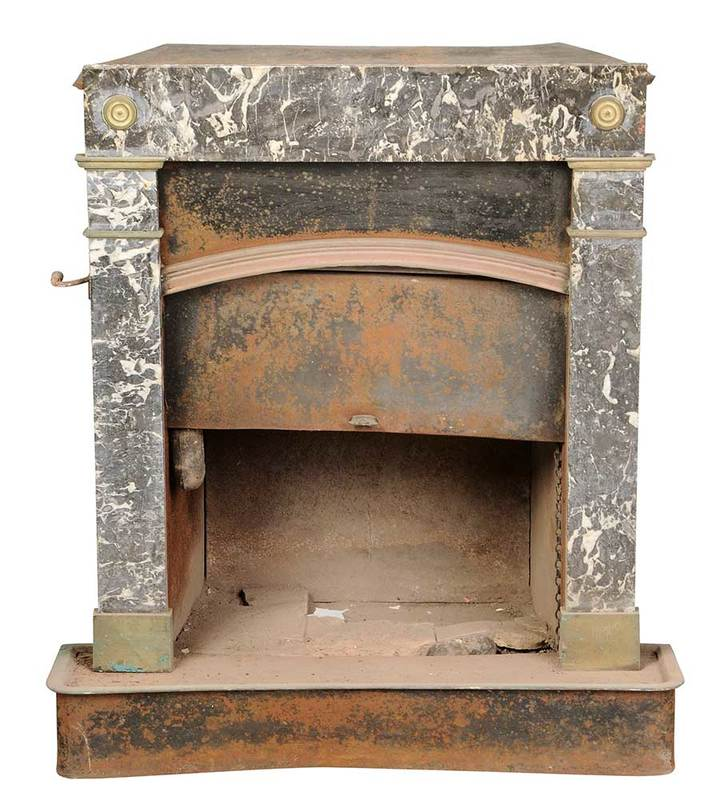 Neoclassical Marble and Brass Fireplace Insert