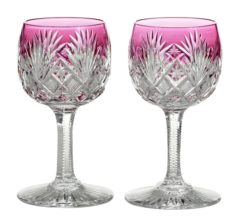 Ten Brilliant Period Cut Glass Stems