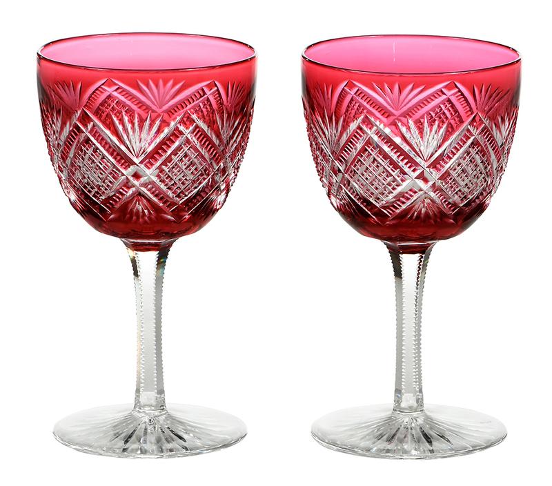 Pair Hawkes Brilliant Period Cut Glass Stems