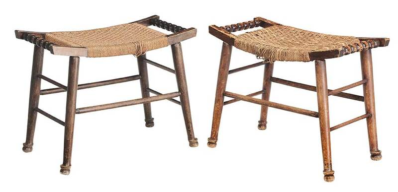Pair Turned and Rope Upholstered Stools
