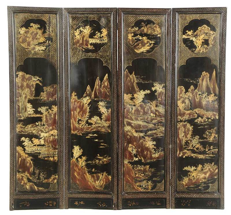 Chinese Export Lacquered and Gilt Floor Screen
