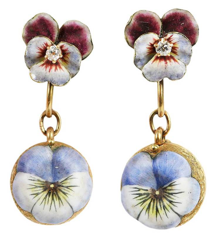 Antique 14kt. Diamond & Enamel Earclips