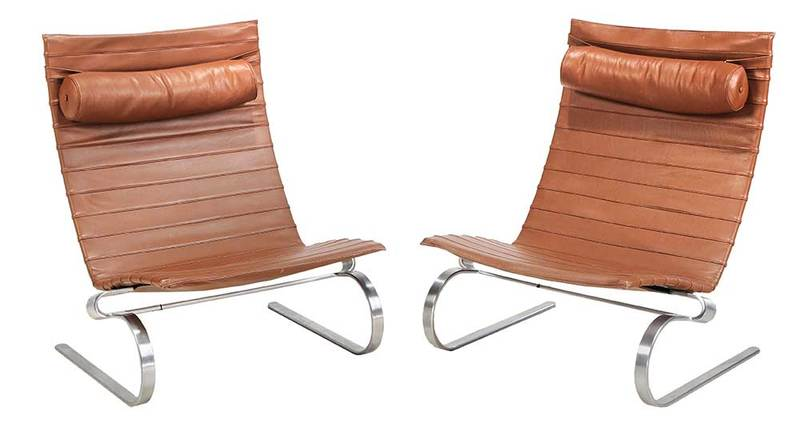 Pair of Paul Kjaerholm Easy Chairs PK 20
