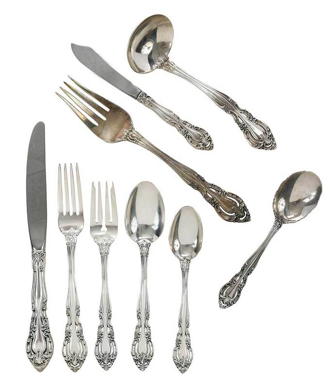 Gorham Baronial Sterling Flatware, 65 Pieces