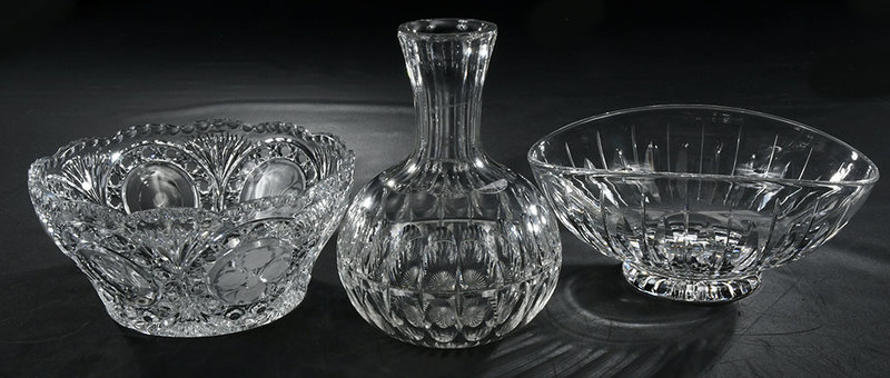 Glass Carafe, Two Bowls