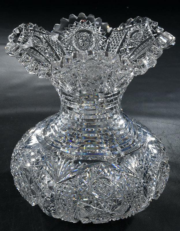Sinclaire Brilliant Period Cut Glass Vase
