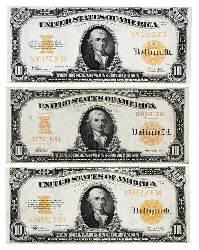 Three $10 U.S. Hillegas Notes