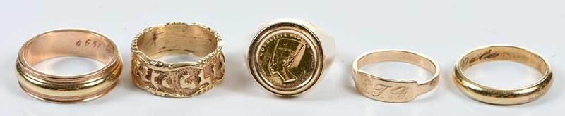 Five 14kt. Rings