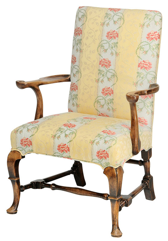 A Queen Anne Style Upholstered Arm Chair