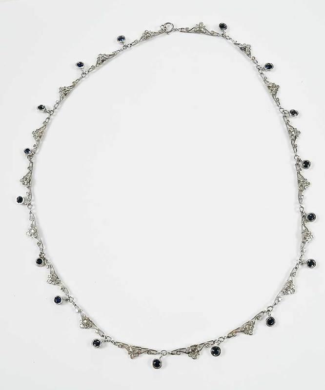 14kt. Gold Sapphire & Diamond Necklace