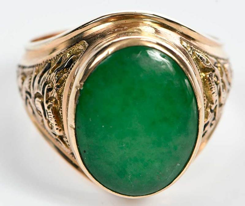 18kt. Green Hardstone Ring