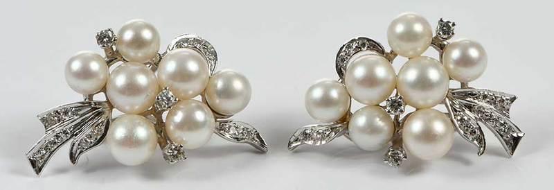 14kt. Diamond & Pearl Earclips