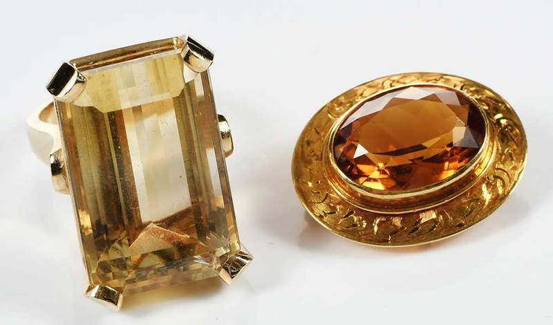 Two 14kt. Citrine Pieces