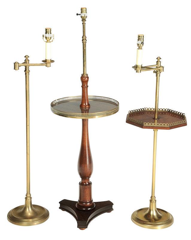 Three Brass and Mahogany Floor Lamps