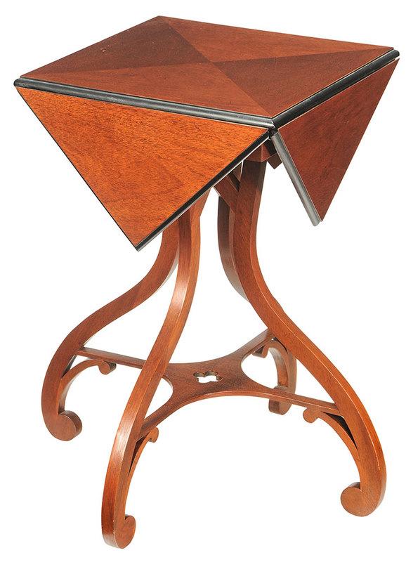 Baker Mahogany And Ebonized Handkerchief Table