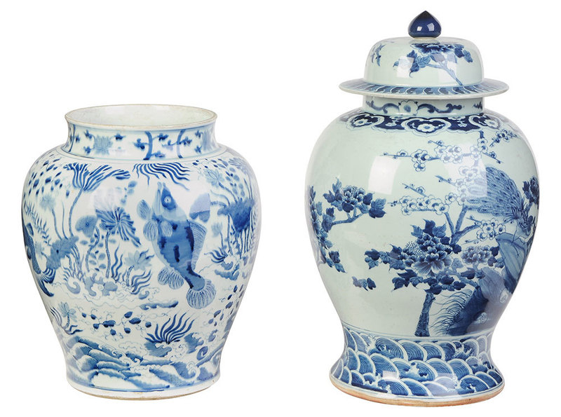 Two Similar Chinese Blue and White Ginger Jars