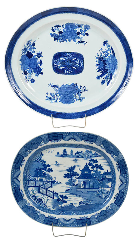 Two Blue And White Transferware Serving Platters