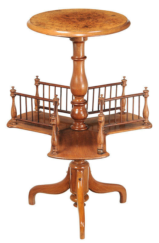 Edwardian Burlwood Rotating Book Stand