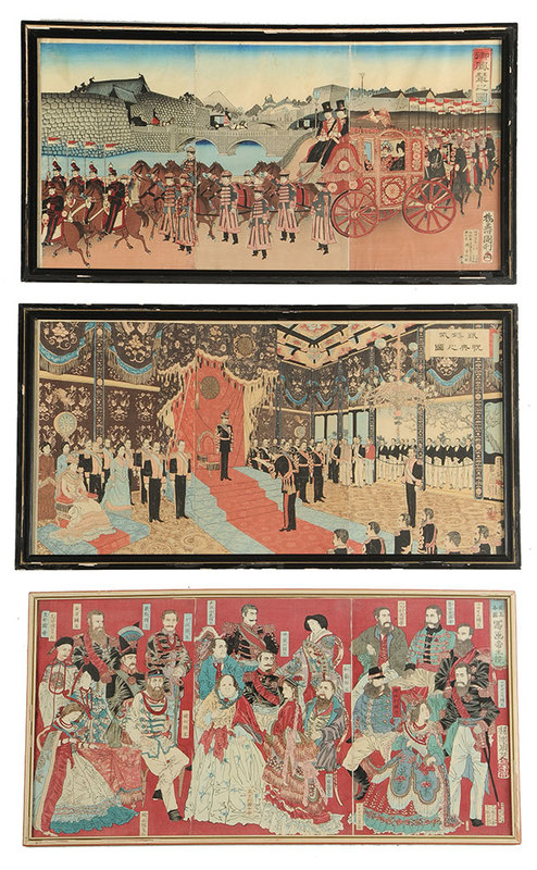 Three Meiji Period Colored Wood Block Triptychs