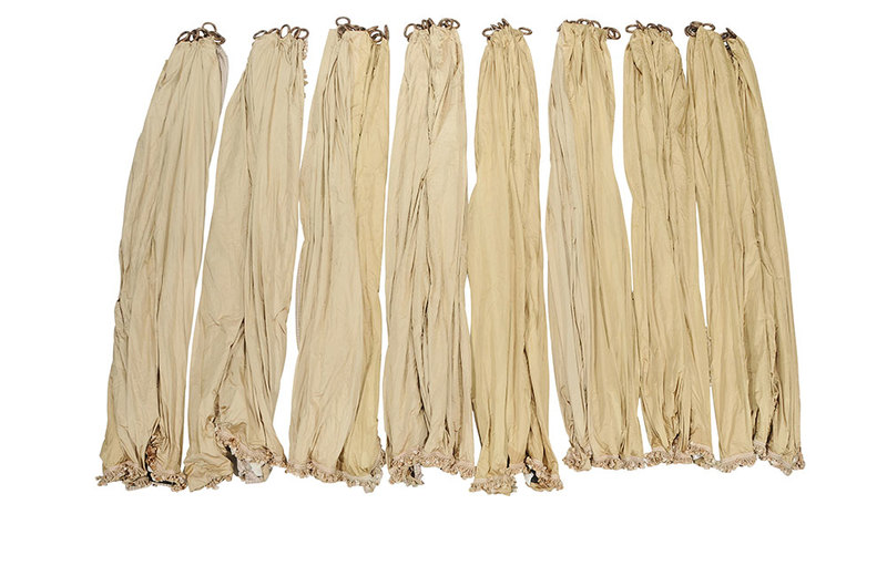 Four Sets of Gold Satin Window Treatments