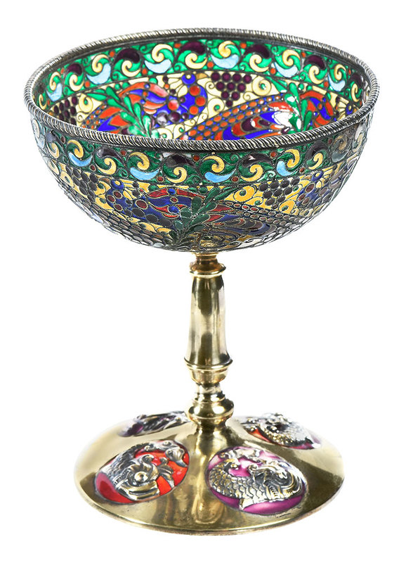 Russian Gilt Silver Plique-à-Jour Footed Cup