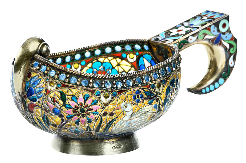 Russian Silver Plique-à-Jour Kovsh