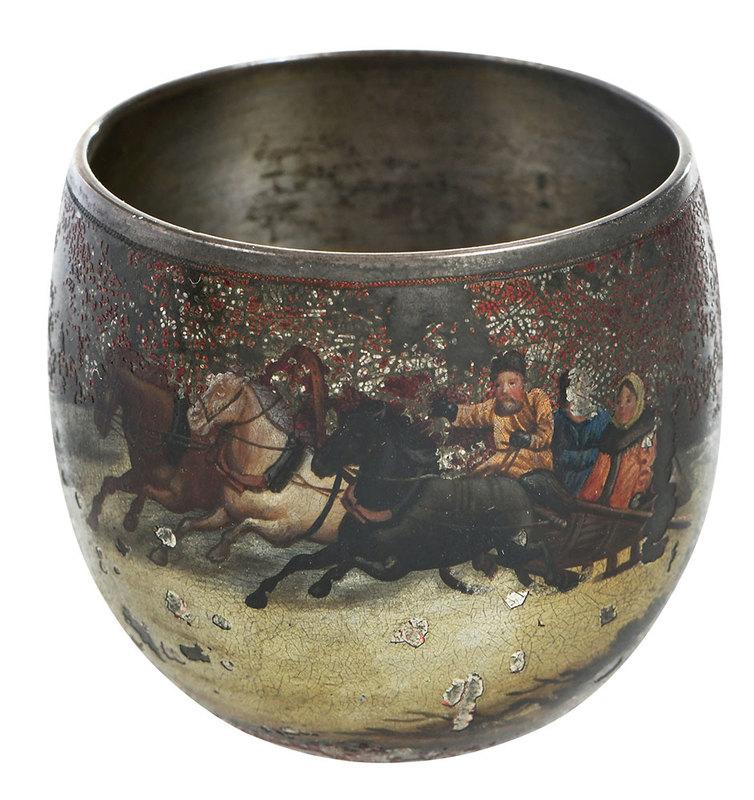 Russian Silver Enamel Vodka Cup