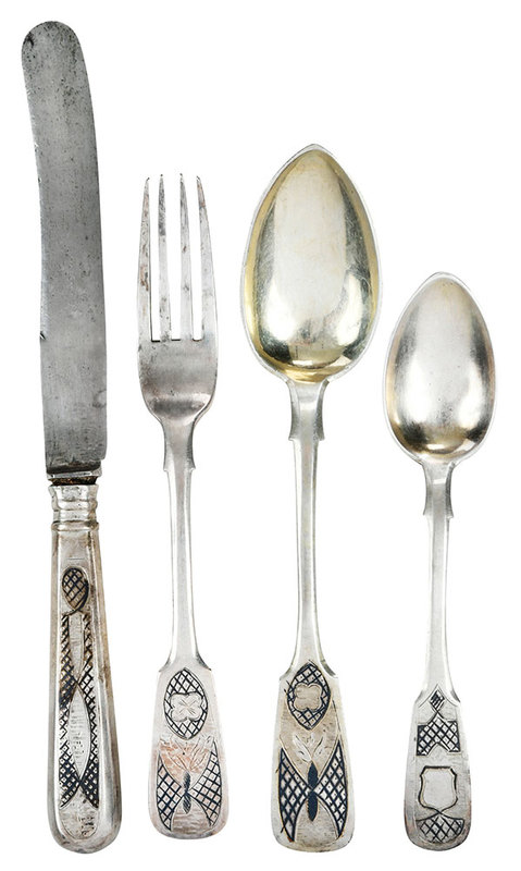 24 Pieces Russian Silver Flatware, Cased