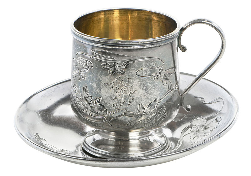 Russian Silver Teacup/Saucer