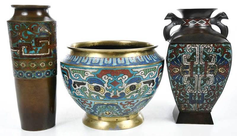 Three Champlevé Bronze Vases
