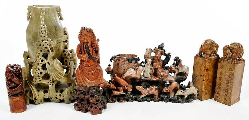 Six Chinese Carved Soapstone Objects